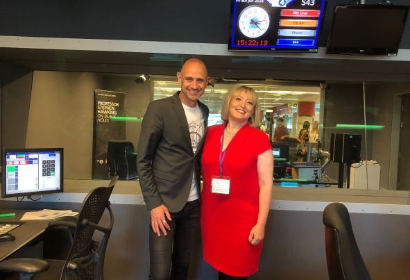 Roz Goldstein and Evan Davis at BBC Radio 4 studios