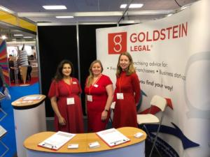 Goldstein Legal team at the British & International Franchise Exhibition 2020 Belle Catrina and Helen