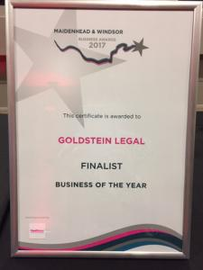 Goldstein Legal makes it to the Finals of the Maidenhead & Windsor Business Awards in the Business of the Year category